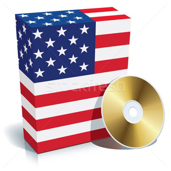 Stock fotó: Amerikai · szoftver · doboz · cd · zászló · színek