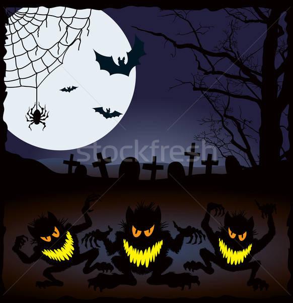 Halloween cauchemar démoniaque nuit vacances yeux Photo stock © Aiel