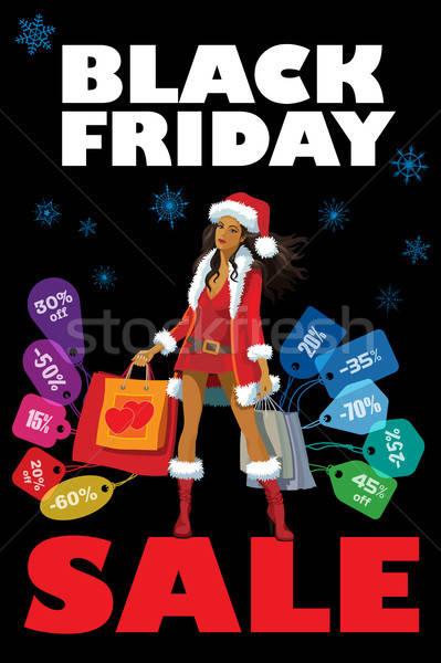 черная пятница продажи Creative красочный плакат женщину Сток-фото © Aiel