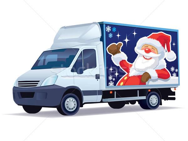 Natale camion di consegna commerciali veicolo babbo natale pubblicizzare Foto d'archivio © Aiel