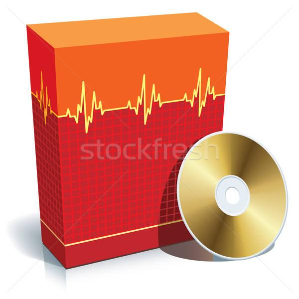 Stock fotó: Doboz · orvosi · szoftver · piros · 3D · cd