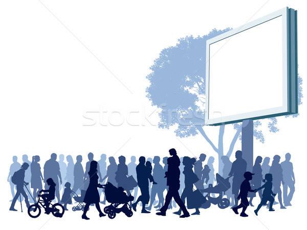 ストックフォト: 群衆 · 人 · 徒歩 · 通り · ツリー · 赤ちゃん