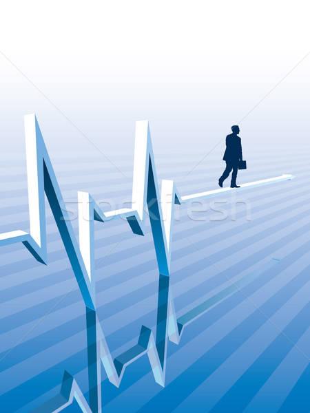 бизнесмен ходьбе графа бизнеса иллюстрация Сток-фото © Aiel