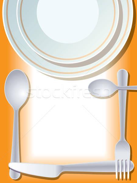 Luogo piatto forcella cucchiaio coltello alimentare Foto d'archivio © Aiel
