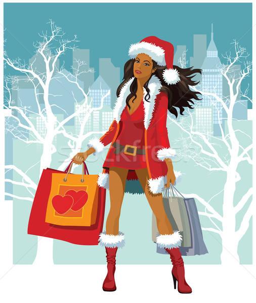 Foto d'archivio: Natale · shopping · ragazza · donna · città