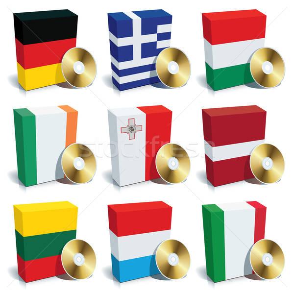 Software scatole set colori bandiere Europa Foto d'archivio © Aiel