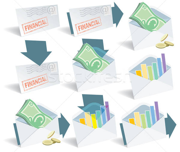 Financiële e-mail iconen perfect web Stockfoto © Aiel