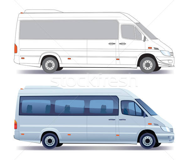 Minibus handlowych pojazd srebrny kolorowy układ Zdjęcia stock © Aiel