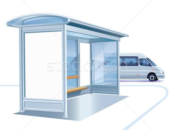 Przystanek autobusowy biały reklamy billboard działalności samochodu Zdjęcia stock © Aiel
