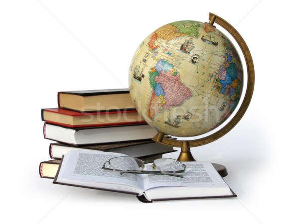 図書 世界中 眼鏡 孤立した 白 ストックフォト © Aiel