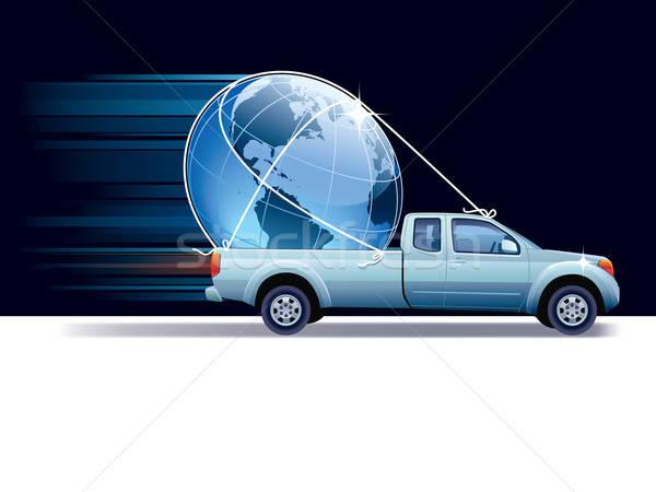 Foto stock: Especial · entrega · azul · camión · tierra · mundo