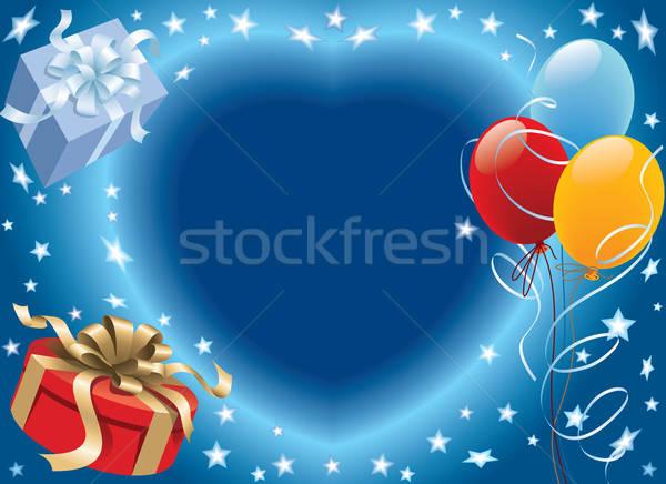 Stockfoto: Verjaardag · ballonnen · decoratie · klaar · verjaardagsfeest · liefde