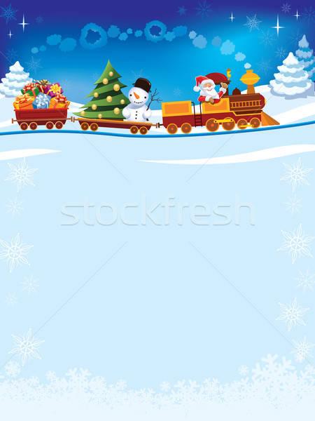 Karácsony vonat mikulás játék ajándékok hóember Stock fotó © Aiel