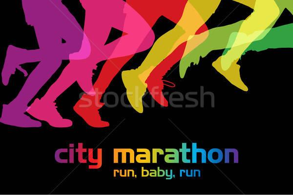 Fut emberek verseny tömeg város maraton Stock fotó © Aiel