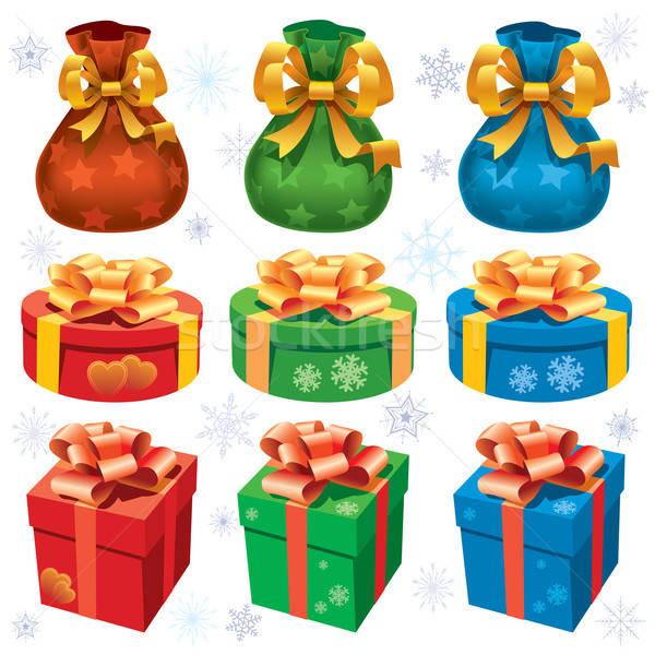 Renkli Noel hediyeler toplama beyaz sanat Stok fotoğraf © Aiel