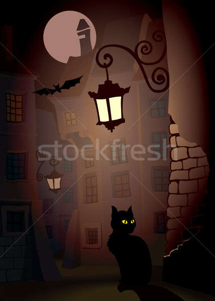 Démoniaque chat rue parfait illustration halloween Photo stock © Aiel