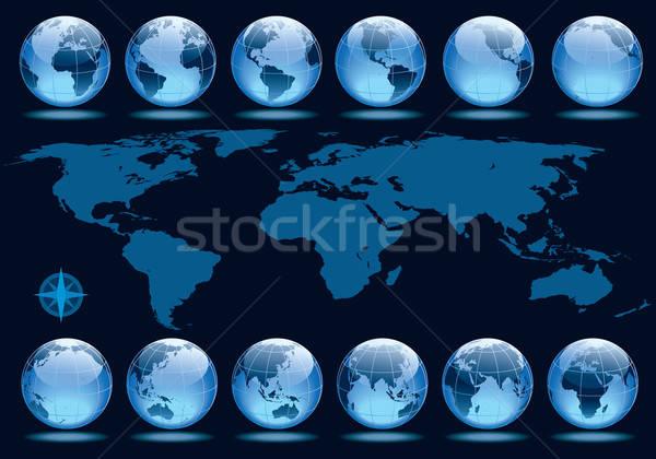 Tierra rotación establecer 12 globos Foto stock © Aiel