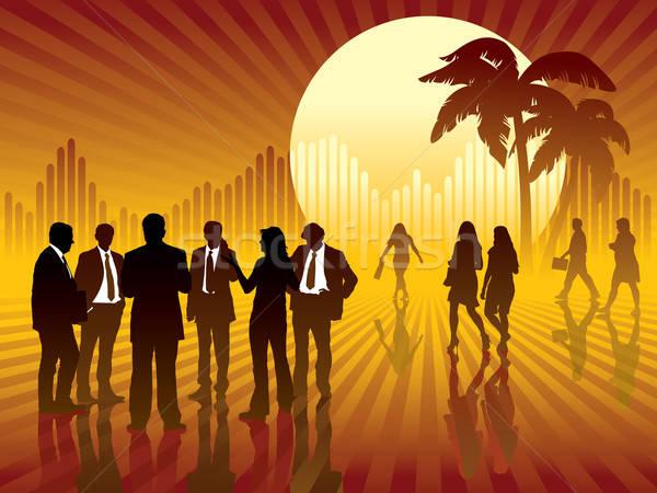 Zdjęcia stock: Tropikalnych · ludzi · biznesu · mówić · słońce · wykres · działalności