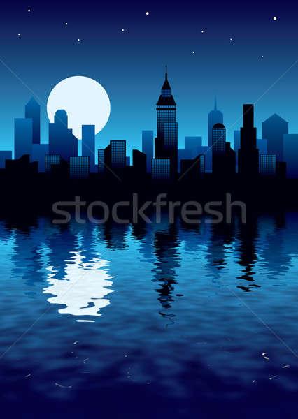 Night City illustrazione moderno business costruzione città Foto d'archivio © Aiel