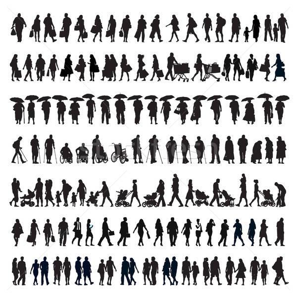 Fuß Menschen Silhouette groß Set Silhouetten Stock foto © Aiel