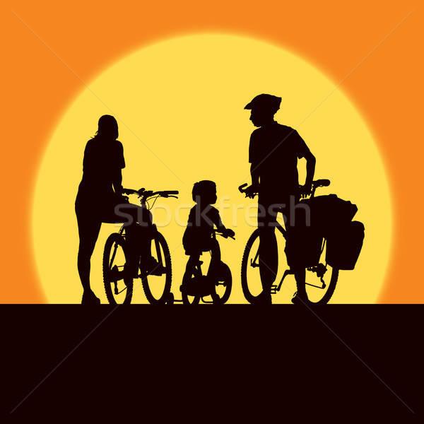 Cycling family Stock photo © Aiel