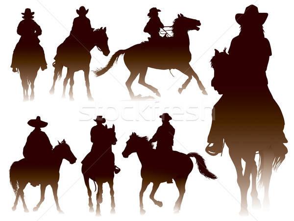 Paardrijden collectie silhouetten man sport paard Stockfoto © Aiel