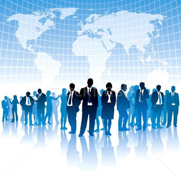Globális üzlet üzletemberek áll nagy világtérkép térkép Stock fotó © Aiel