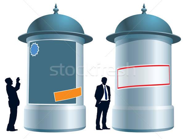 Foto stock: Publicidade · coluna · pessoas · em · pé · negócio · ilustração