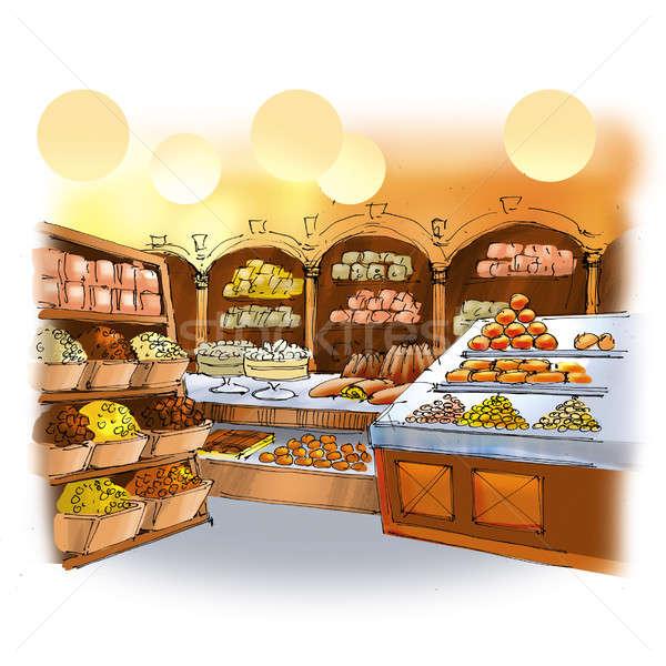 Сток-фото: конфеты · магазин · красочный · рисунок · интерьер · торты