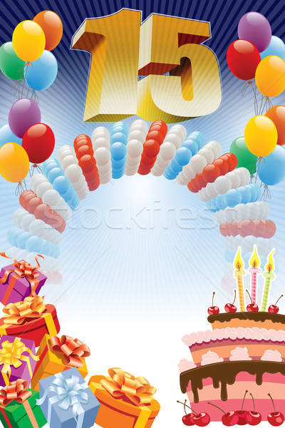 Poster for fifteenth birthday  Stock photo © Aiel