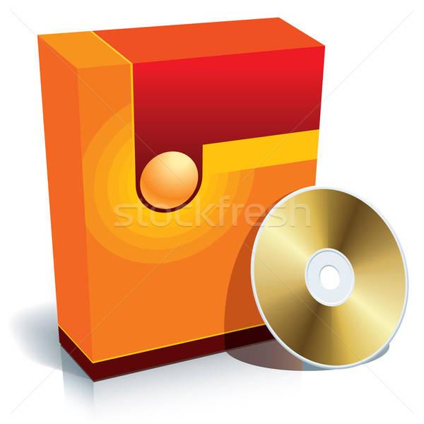 Foto stock: Caixa · cd · vetor · vermelho · 3D · pronto