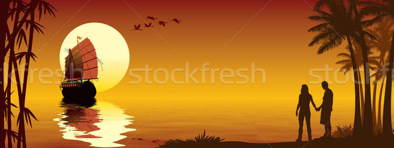 Tropicales coucher du soleil couple amour regarder Photo stock © Aiel