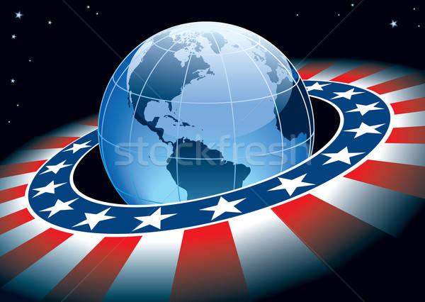 Foto stock: Globo · anel · elementos · EUA · bandeira · terra