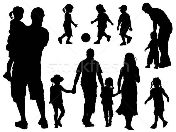 Family silhouettes Stock photo © Aiel