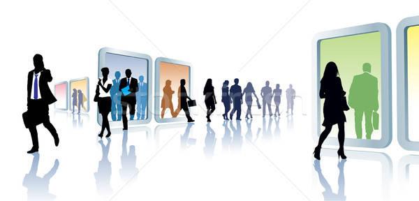 Virtuális utazás tömeg emberek porta nők Stock fotó © Aiel