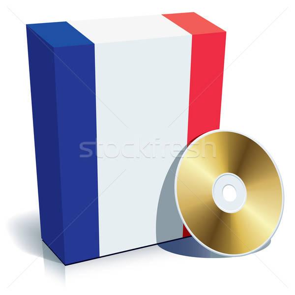 Stock fotó: Francia · szoftver · doboz · cd · zászló · színek