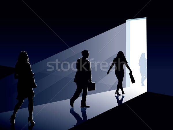 Stockfoto: Mensen · deur · Open · deur · business · illustratie · man