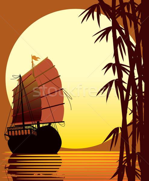 Tramonto bambù foresta mare Foto d'archivio © Aiel