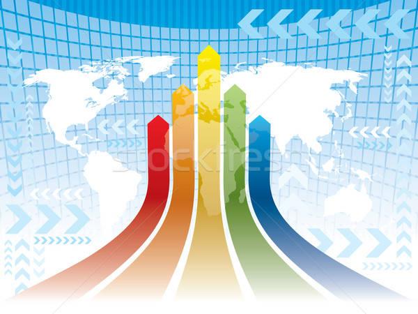 Stockfoto: Wereld · veelkleurig · pijlen · abstract · Blauw