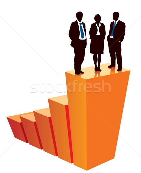Nyertesek sikeres üzleti csapat áll nagy grafikon Stock fotó © Aiel