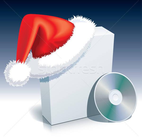 Сток-фото: Дед · Мороз · окна · Cap · программное · компакт-диск · компьютер