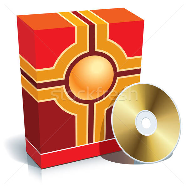 ストックフォト: ボックス · cd · 赤 · 3D · ベクトル · コンピュータ