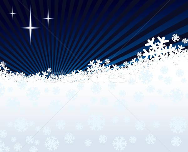 Stock fotó: Tél · éjszaka · ragyogó · csillagok · fehér · hó