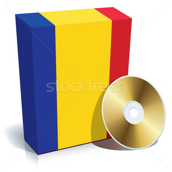 Román szoftver doboz cd zászló színek Stock fotó © Aiel