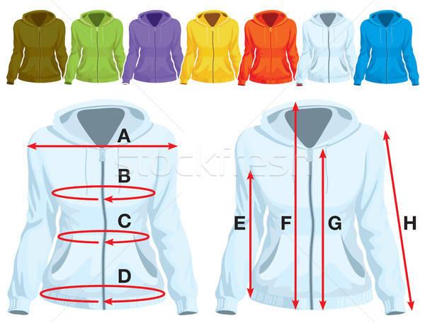 Sweatshirt Vorlage Messung farbenreich Sammlung Frau Stock foto © Aiel