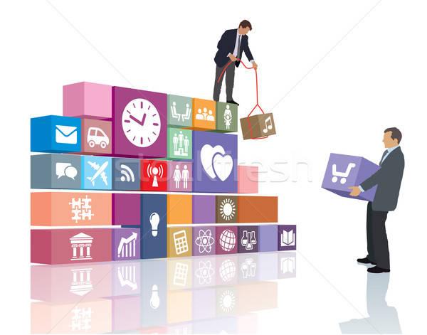 Ontwikkeling twee mensen ontwikkelen web pagina software Stockfoto © Aiel