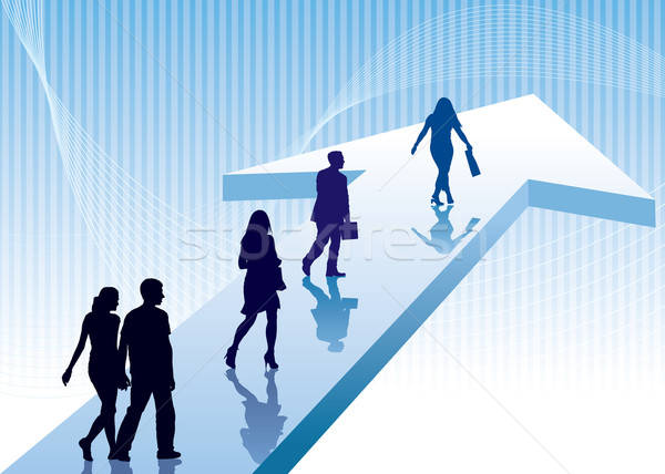 Foto stock: Dirección · personas · caminando · signo · negocios · ilustración