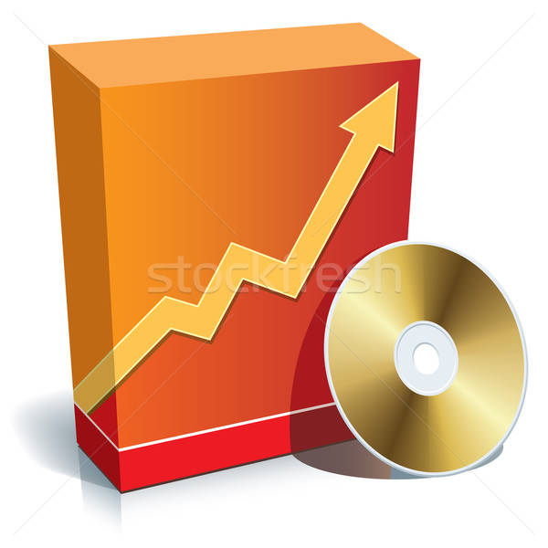Oprogramowania polu płyta cd czerwony 3D wykres Zdjęcia stock © Aiel