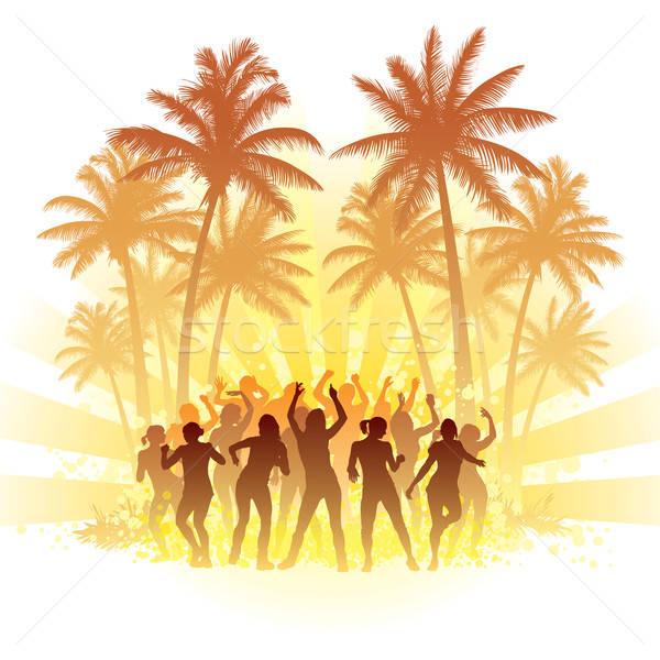Nyár diszkó csoportkép tánc nap tengerpart Stock fotó © Aiel