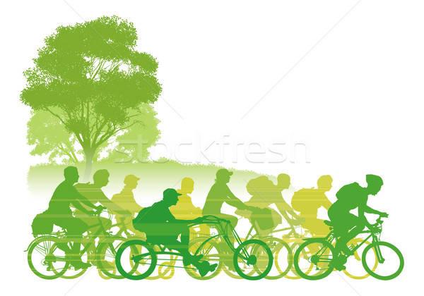Stock fotó: Biciklizik · csoport · kerékpáros · út · férfi · sport
